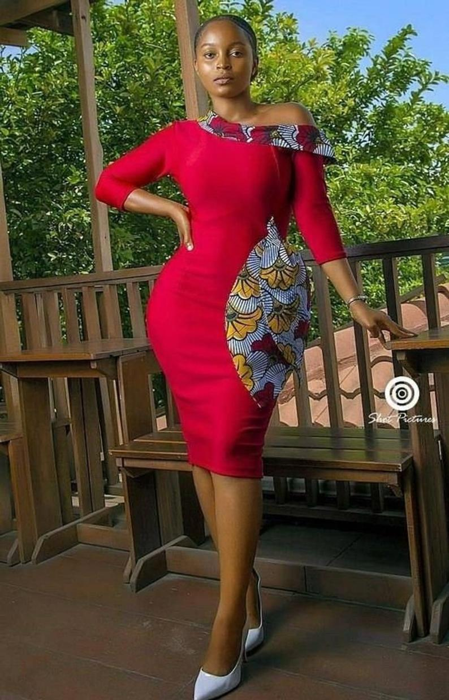 Best Ankara Short Gown Styles 1 Red African Print Wedding Guest Dress,Puerto Rico Wedding Dresses
