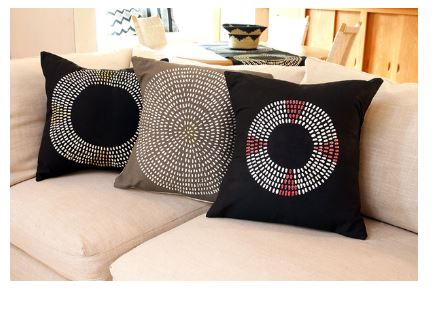 Black White Decorative African Pillow Africa Blooms