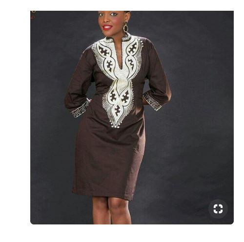 76ce09c9bfe Brown White Dashiki Dress ...