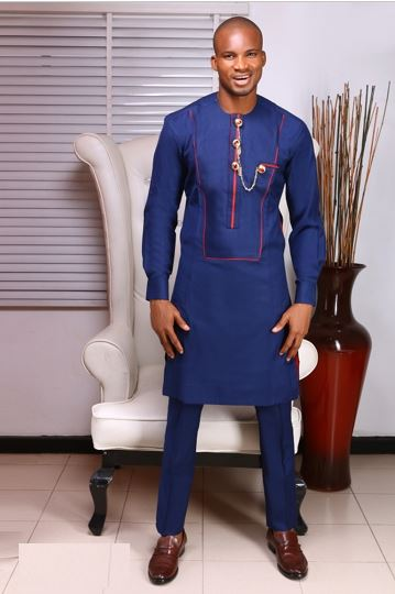 45853e63eaac Blue African Fashion Style Suit - Dashiki for Men Dress Suit - AFRICA BLOOMS