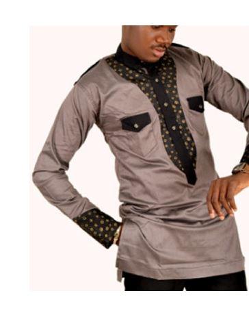 Brown African Attire Designs Mens Top Dashiki Dress Shirt Africa Blooms,Transitional Design Style Bedroom