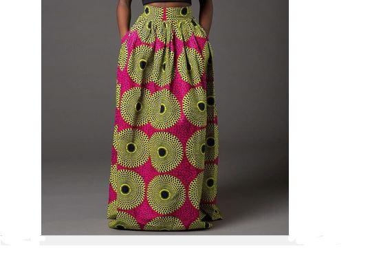 2800c555b2 Pink Yellow Dashiki Skirt | Long African Print Skirt for Sale ...