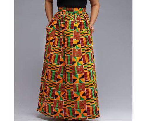 3c311273b7 African Kente Dashiki Skirt | Long Ankara Skirt for Sale |AFRICA BLOOMS