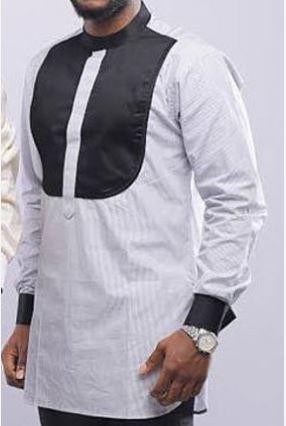 ea1fbe14615 Gray   Black Dashiki African Mens Kaftan - African Wedding Suit for Men - AFRICA  BLOOMS