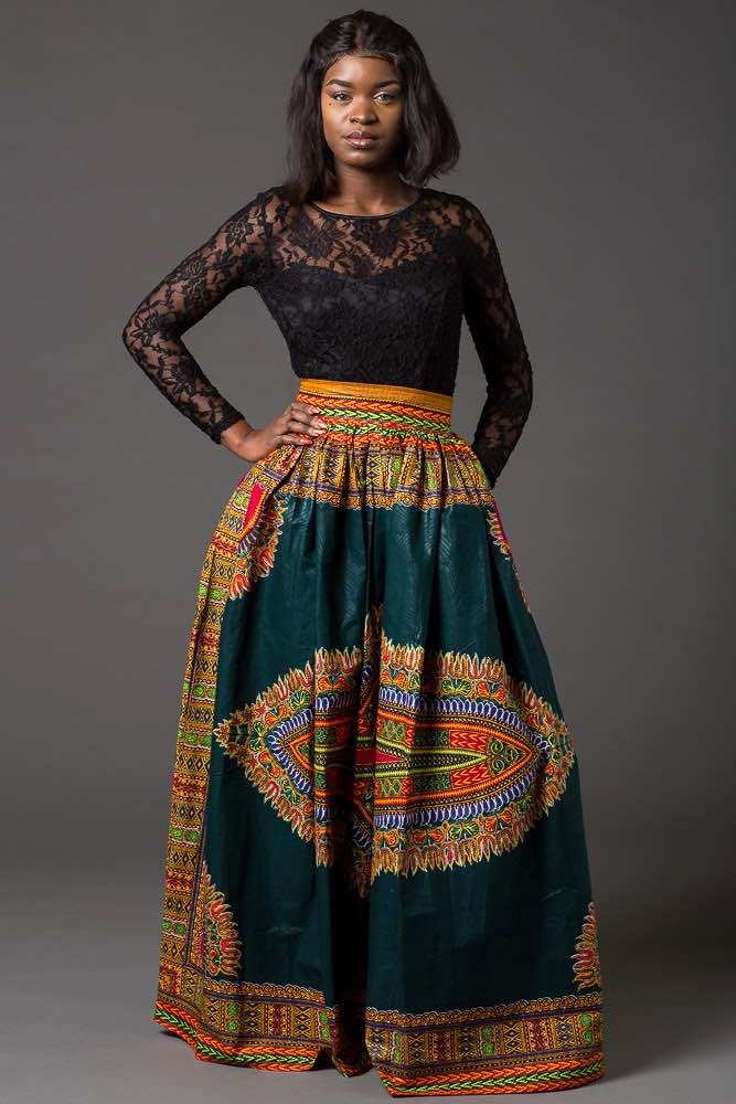db01455c59 Green Dashiki Maxi Skirt | Long African Print Skirt for Sale ...