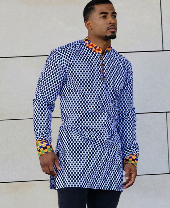 4ec6e8e0d74d09 Latest African Wear Men – Dashiki Shirt for Men – Ghana Kente Shirt - AFRICA  BLOOMS