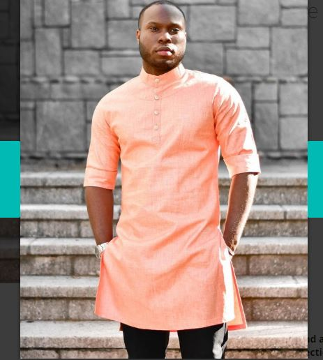 Peach African Wedding Attire Top | Special Occasion African Outfit Shirt