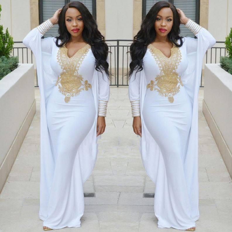 White Gold African Kaftan Dress 1 Dashiki African Wedding Dresses Sale,Hot Weather Simple Wedding Dresses 2020