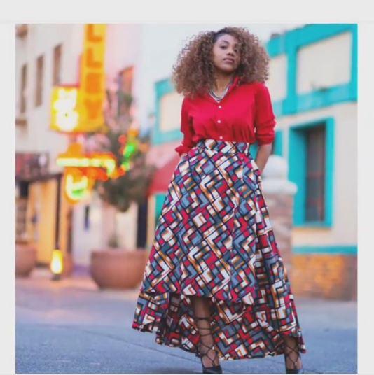 33257b02f4 Grey & Wine African Print Maxi Skirt | Dashiki Women Skirt | Africa ...