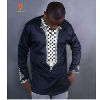 6553048c4da Black   White Kaftan Dashiki Shirt   Pants - AFRICABLOOMS