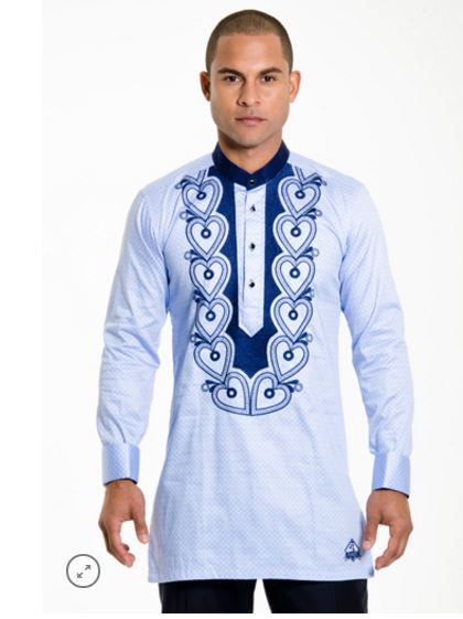 6138e5dc0 Blue Embroidery Mens Kaftan Wears | African Clothing US | Africa Blooms