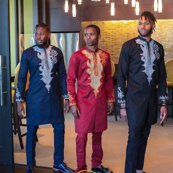 dashiki shirt African attire African men/'s shirt dashiki,wedding suit prom suit,Top and pants. African Men Clothing