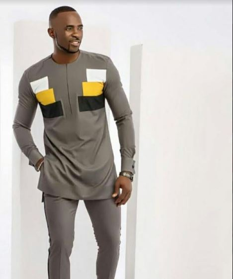 Mens Wedding Attire.Gray Dashiki Attire For Wedding Mens African Clothing Mens Shirt Pants