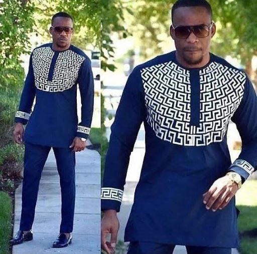 d56a4c655 Navy Blue White Modern Dashiki Mens Shirt & Dashiki Pants - AFRICABLOOMS