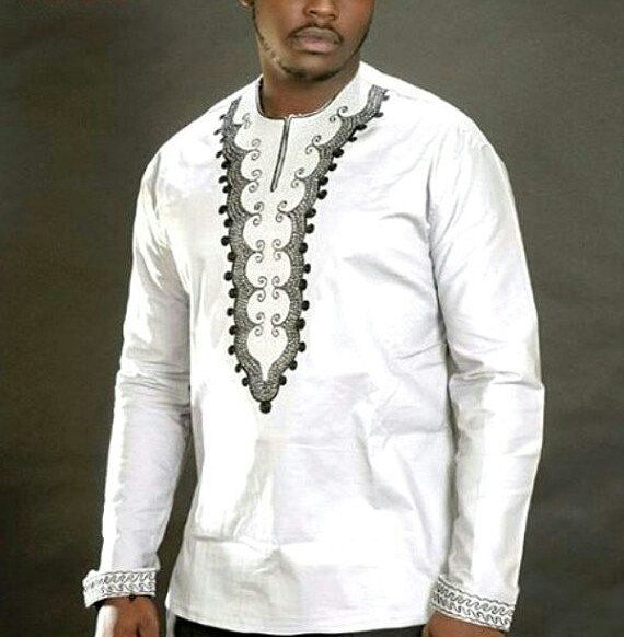 ea8d195ce2 White African Embroidery Design Mens Top | White Dashiki Shirt for Sale