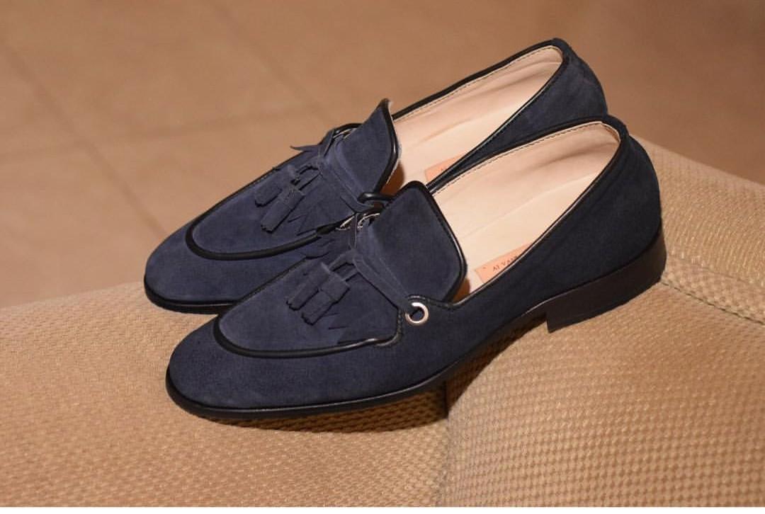 Black Suede Tassel Loafers for Men