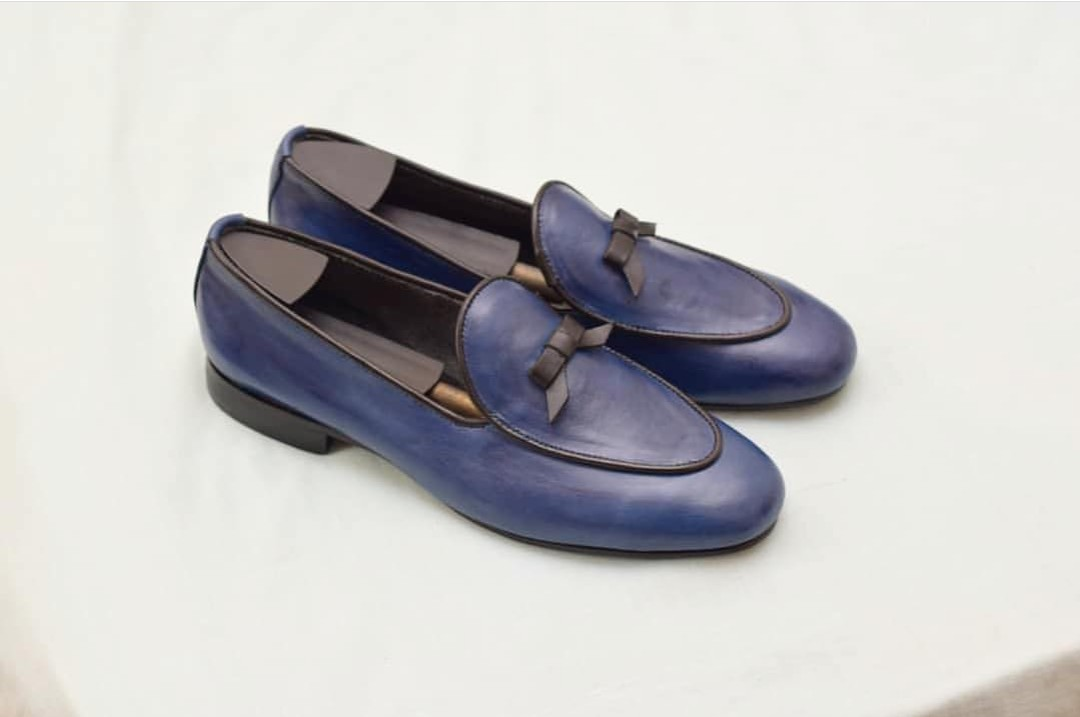 Navy Blue Mens Dress Shoes Loafers