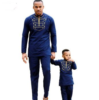 8cb73c8286 Blue & Gold African Clothing for Father & Son | Blue Dashiki African Wear