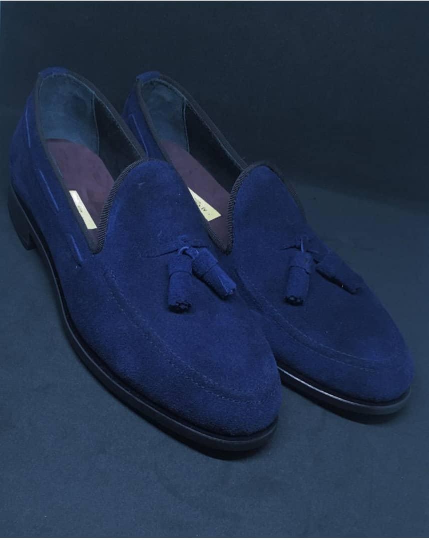 Blue Suede Tassel Loafers for Men