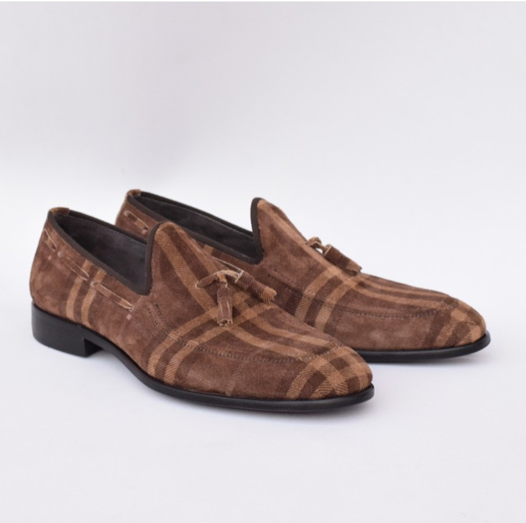 Brown Design Suede Mens Dress Loafers