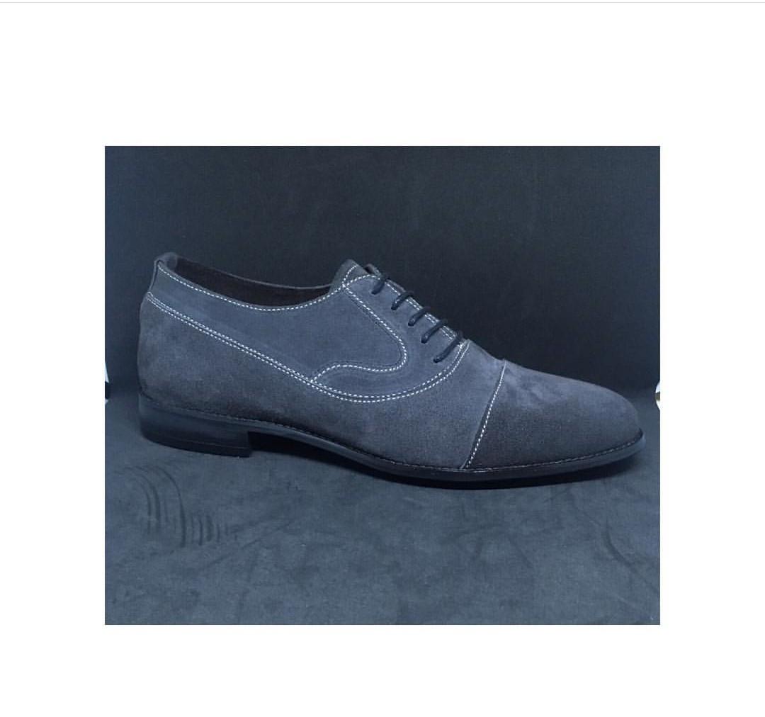Gray Mens Lace Up Dress Suede Shoes