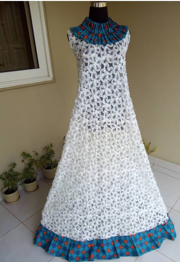 95af36619a30 White African Lace   Ankara Dress - AFRICA BLOOMS