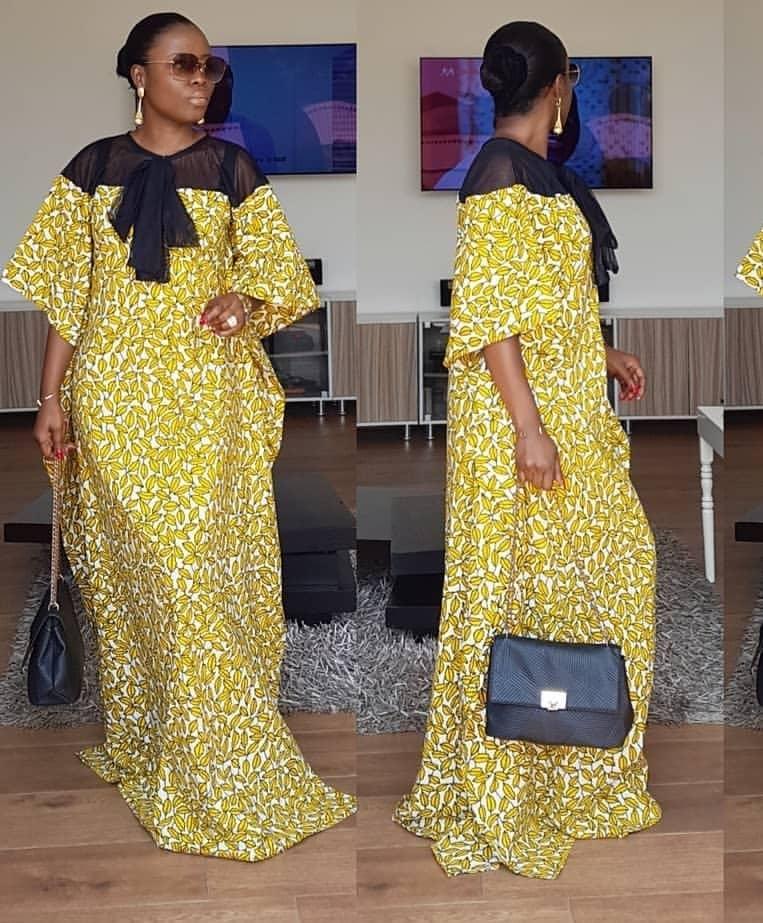 42f2223c7797c Black Chiffon & Ankara Dress |Buy African Dress Traditional Wear Designs