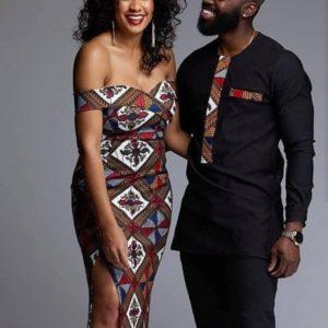 Ankara styles Nigerian couple dress African couple clothing African couple outfit African couple wedding suit African couple dashiki