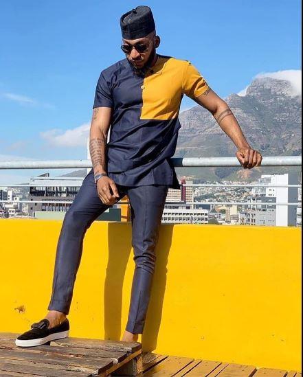 ed09232e5 Navy Blue & Gold African Dashiki Style Shirt | Modern African Mens Wedding  Shirt
