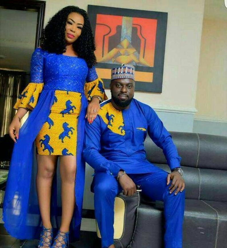 Royal Blue Ankara Couple Dress | Best African Traditional Dashiki ...