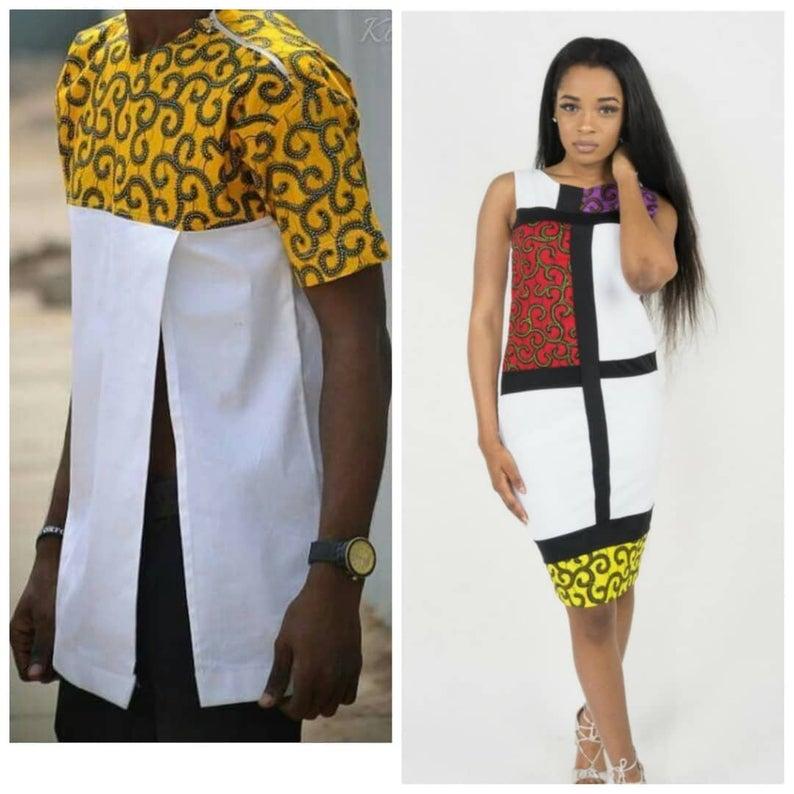 631ffd9d73c White & Yellow Matching Couple Ankara Dress | Dashiki African Outfits