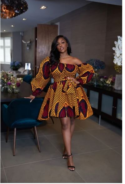 Layered Dress Ankara Print Dress African Print Off Shoulder Ruffle Dress Off Shoulder Dress Holiday Party African Clothing for Women